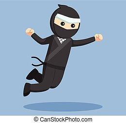 ninja, ataque, vetorial, pular