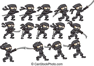 Animation of ninja attacking with katana. Vector clip art illustration with simple gradients. Each on a separate layer.