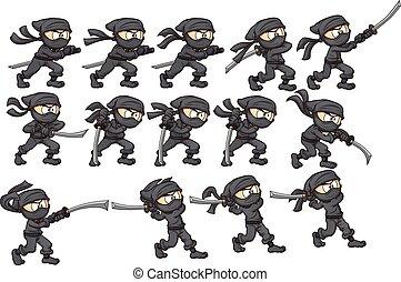 Ninja Attack - Animation of ninja attacking with katana. ...