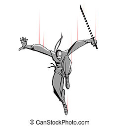 Ninja attacking with Sword - illustration of ninja fighter...