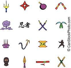ninja, broń, ikony, komplet, rysunek