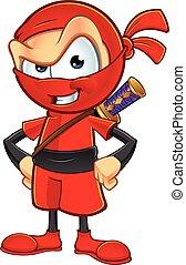 ninja, caractère, rouges, sournois