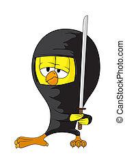 ninja, caricatura, polluelo