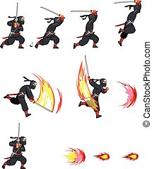 ninja, caricatura, sprite