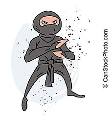 Ninja cartoon hand drawn image