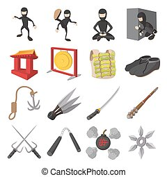 Ninja cartoon icons set