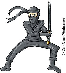 ninja cartoon isolated on white background