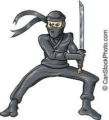 ninja cartoon isolated on white background