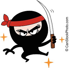 Ninja Cartoon Vector - Ninja Cartoon Character Design Vector