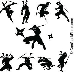 ninja, cień, sylwetka, wektor