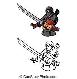 ninja, coloritura, carattere, libro