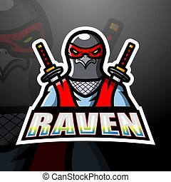 ninja, corbeau, esport, mascotte, conception, logo