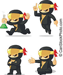 Ninja Customizable Mascot 12 - A vector set of ninja in...