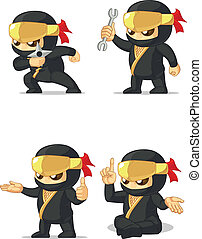 Ninja Customizable Mascot 14 - A vector set of ninja in...