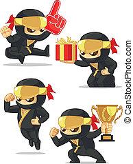 Ninja Customizable Mascot 17 - A vector set of ninja in...