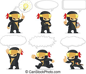Ninja Customizable Mascot 20 - A vector set of ninja in...