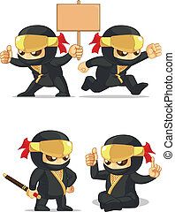 Ninja Customizable Mascot 6 - A vector set of ninja in...