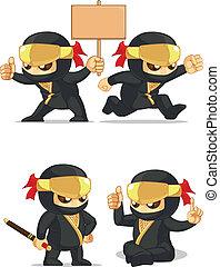 Ninja Customizable Mascot 6 - A vector set of ninja in...