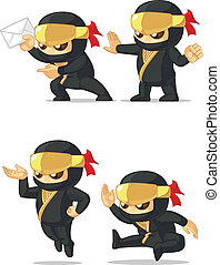 Ninja Customizable Mascot 8 - A vector set of ninja in...