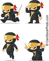 Ninja Customizable Mascot - A vector set of ninja in several...