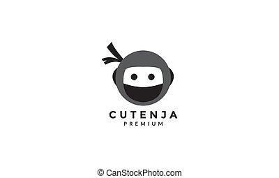 ninja cute head unique logo vector icon illustration