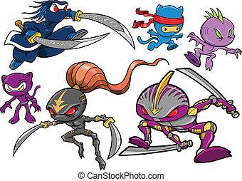 ninja, cyborg, conjunto, robótico, guerrero