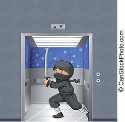 ninja, dentro, elevador