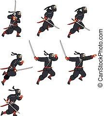 ninja, dessin animé, lutin