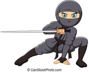 ninja, dessin animé, tenue, épée