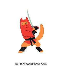 Ninja dog character fighting with a katana sword vector Illustration on a white background