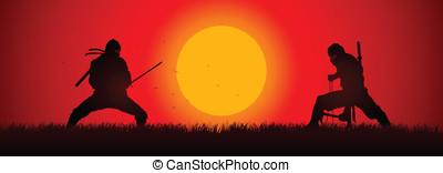 Ninja Duel - Silhouette illustration of two ninjas in duel
