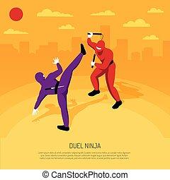 ninja, duelo, isométrico, composición