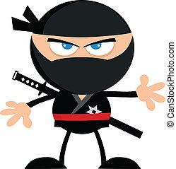 ninja, enojado, diseño, .flat, guerrero