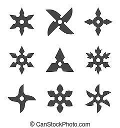 ninja, ensemble, étoile, icône