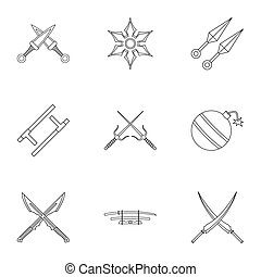 Ninja equipment icons set, outline style - Ninja equipment...