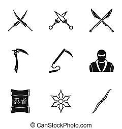Ninja equipment icons set, simple style - Ninja equipment...
