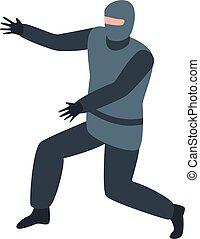 ninja, estilo, guerrero, icono, isométrico