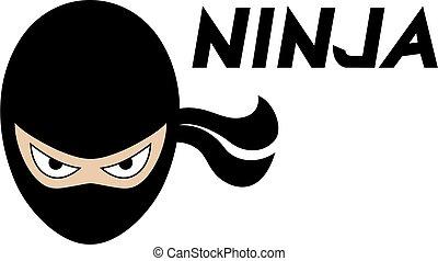 ninja face flat illustration style