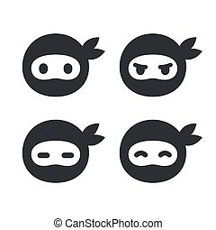 Ninja face icon set. Modern simple logo in flat cartoon...