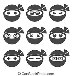 Ninja Face Icons Set