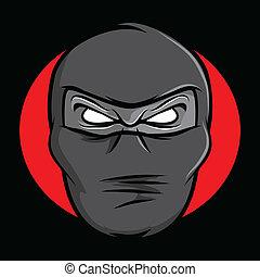 Ninja Face - Illustration of an angry masked ninja