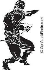 Ninja fighter - vector illustration. Vinyl-ready.