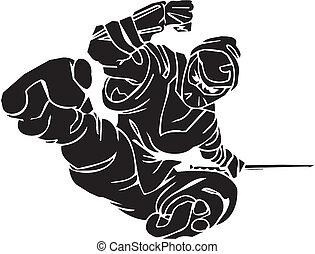 Ninja fighter - vector illustration. Vinyl-ready. - Ninja...