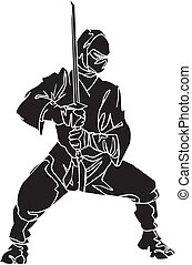 Ninja fighter - vector illustration. Vinyl-ready. - Ninja...