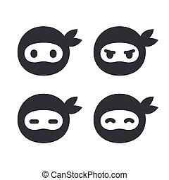 ninja, figure, ensemble, icône