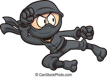 Ninja flying kick. Vector clip art illustration with simple...