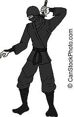 ninja, gevaar, trekken