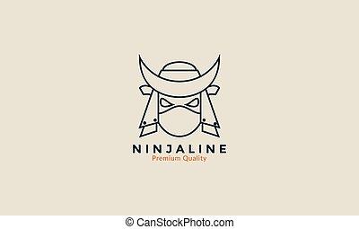 ninja head line strong logo icon vector design illustration