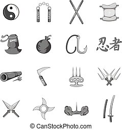 Ninja icons set, black monochrome style - Ninja icons set in...