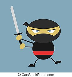 Ninja, illustration, vector on white background.